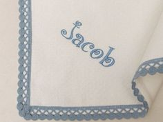 Personalized White Flannel Baby Blanket Blue Gray Lace Boys Blanket  Cotton Pique Flannel Baby Blanket Crib Swaddle Blanket Baby Shower Gift by VirgoCottonLinen on Etsy #GreekCotton #BabyBlanket #BabyShower #BabyBoySwaddle #BlueGrayBoys