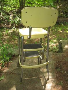 Vintage Metal Yellow Folding Costco Chair Step Stool Fold