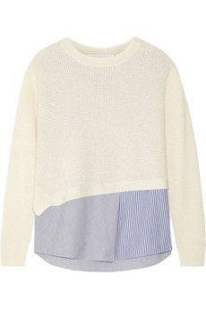 Thakoon Thakoon Addition layered waffle-knit and stretch-poplin top   NET-A-PORTER