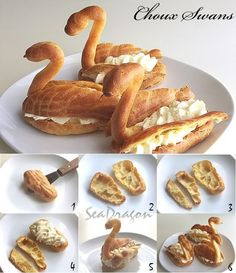 Swan cream puffs - so whimsy Profiteroles, Eclairs, Fun Desserts, Dessert Recipes, Awesome Desserts, 12 Days Of Xmas, Fruit Kabobs, Holiday Treats, Biscotti