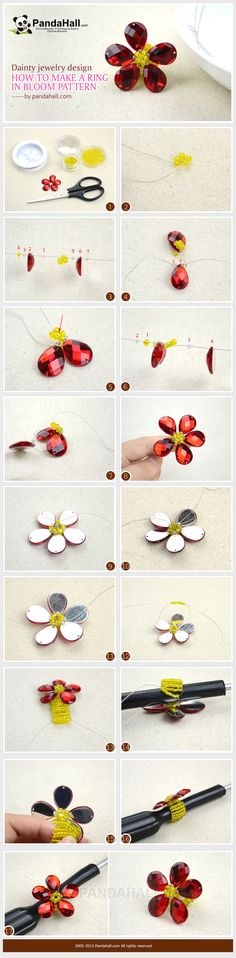 This blooming flower jewelry design is a great summer accessory and might just bring you lots of good luck, as is taught in the tradition of feng shui. Learn how to make a ring with this pattern in a few easy steps!