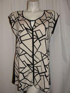 ESPRESSO Black Ivory Polyester Front & Stretch Rayon Knit Back Top Blouse Sz…