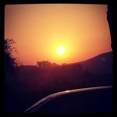 Super sunset shot over the foothills of the Sahyadris at Khopoli in Feb 2014 on way back from Pune