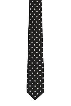 Notch Men's Silk Slim Necktie – AARON – Solid black base and milky white dots  http://www.yourneckties.com/notch-mens-silk-slim-necktie-aaron-solid-black-base-and-milky-white-dots/