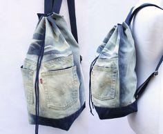 denim backpack upcycled jeans drawstring bag denim bucket bag unique wash 90s grunge boho backpack eco recycled repurposed vegan backpack