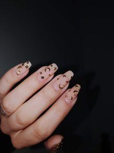 Milky Nails, Moon Nails, Star Nails, Nail Stuff, Gel Nail Designs, Cute Acrylic Nails, Melanie Martinez, Gel Manicure, Doll Face