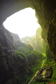 Houping Giant Doline - part of the Houping Tiankeng Group, Wulong, China. Part of the South China Karst, an UNESCO World Heritage Site