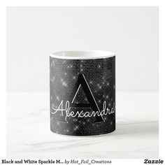Shop Black and White Sparkle Monogram Name & Initial Coffee Mug created by Hot_Foil_Creations. Initial Coffee Mugs, Modern Mugs, Custom Mugs, Shot Glass, Initials, Tea Cups, Sparkle, Monogram, Black And White