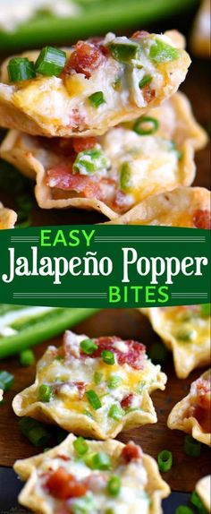 Easy Jalapeño Popper Bites - Easy Jalapeño Popper Bites are sure to be the hit of your party! This extra delicious appetizer is creamy, cheesy, spicy, bite-sized and did I mention loaded with bacon? // Mom On Timeout Source by shortyhickman Jalapeno Bacon, Jalapeno Popper Bites Recipe, Stuffed Jalapenos With Bacon, Finger Food Appetizers, Appetizer Dips, Yummy Appetizers, Appetizers For Party, Party Snacks, Easy Bite Size Appetizers