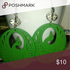 Crane earrings Lightweight wooden earrings in the shape of cranes. Faceted plastic beads. Jewelry Earrings