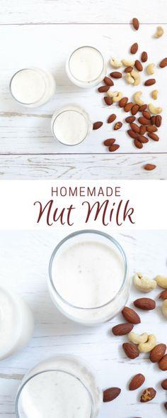 HOMEMADE NUT MILK Vegan Recipes Videos, Milk Recipes, Delicious Vegan Recipes, Vegetarian Recipes, Blender Recipes, Easy Drink Recipes, Brunch Recipes, Smoothie Recipes, Dessert Recipes