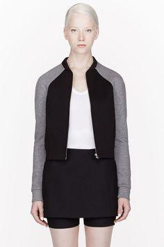 dcec1c9f9 T BY ALEXANDER WANG Black & Grey Jersey & Neoprene Bomber Jacket  #womensfashionminimalistalexanderwang