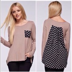 2 left❗️Long sleeve tops Large sold out! Please do not purchase this listing. Comment with size and I will create a new listing for you. Small (2/4) Medium (6/8) Large (10/12) Long sleeve top with polka dot contrast in front pocket and back. Price is firm unless bundled. Tops