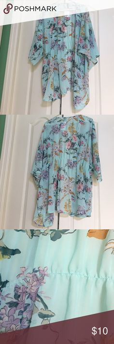 Light Blue Floral Kimono I bought this last summer and it's so cute, but i never ended up wearing it. It's very light weight and sheer. It has cinching at the waist and the sleeves flow. It still has the original tag. H&M Other