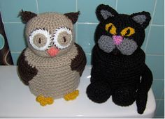 The Owl and Pussycat Toilet Paper Covers (bathroom / banheiro decor)