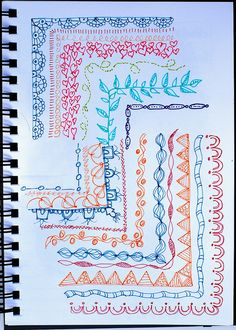 "Drawing Doodles Ideas Art Jounal - Border Doodles Practice from ""Creative Doodling Tangle Doodle, Doodles Zentangles, Zen Doodle, Zentangle Patterns, Doodle Art, Doodle Patterns, Doodle Inspiration, Art Journal Inspiration, Diy Collage"