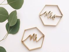 Made out of laser-cut wood, these chic hexagonal place cards are available in various sizes and can be painted gold, silver, copper, white, or black.