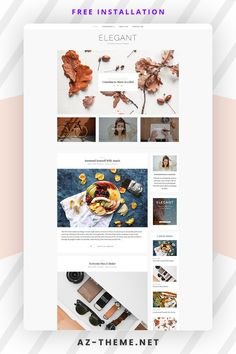WordPress Theme Blog – Responsive WordPress Template – Feminine Wordpress Theme – Elegant. This WordPress theme is ideal for both kind of Bloggers, beginners as well as for professional Bloggers. The beauty of this theme is its simplicity. Minimalist Wordpress Themes, Premium Wordpress Themes, Wordpress Blogs, Wordpress Website Design, Wordpress Template, Website Design Inspiration, Free Blog, Lifestyle Fashion, Elegant