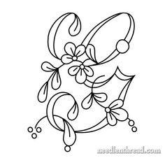Floral Script Monograms for Embroidery: E-H – NeedlenThread.com