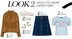 How To Wear: Denim Button-Front Skirt   Collage Vintage