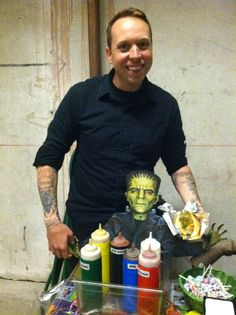 The Frankenstand is serving up lunch at the PETA office today. Here's Matt posing with Frankenstein and a loaded veggie dog!