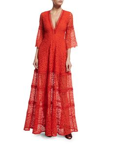 Akyria V-Neck Lace Maxi Dress, Red by Alexis at Neiman Marcus.