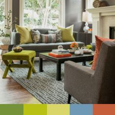 This space is so funky we just had to use it as an inspiration for a color board! The fresh yellow-greens and warm oranges create fun pops of color in a room that is otherwise full of grays and creams. We love the mixture of neutral patterns with the bright pops of unexpected colors! What is your favorite color combination?
