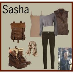 A fashion look from April 2014 featuring off the shoulder tops, brown tank top and biker vest. Browse and shop related looks.