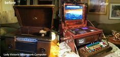 "Lady Victoria Steampunk Computer Before and After ""open"""