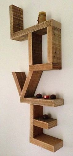 What word sends a powerful message to you? Love - wall shelf made from recycled timber offcuts: via State of Green Diy Wood Projects, Wood Crafts, Diy Casa, Creation Deco, Diy Holz, Pallet Furniture, Pallet Walls, Furniture Design, Woodworking Crafts