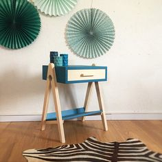 Mid century Bedside table, nightstand, Scandinavian and vintage, pedestal table, mid century modern, wood, blue color, model Hippolyte
