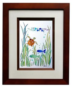 Sea Glass Turtle and Fish 8x10 Frame