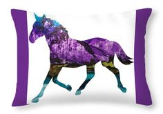 Alcohol Ink Painting Throw Pillow featuring the painting Purple Peaks Running…
