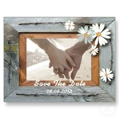 Vintage Daisy barnwood Country customizable Save The date Postcard    http://www.zazzle.com/going2thechapel