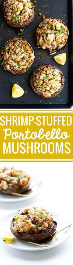 Shrimp Stuffed Portobello Mushrooms - Easy to make, waistline friendly, and just 30 minutes from start to finish! #stuffedmushrooms #shrimp #portobellowmushrooms | http://Littlespicejar.com