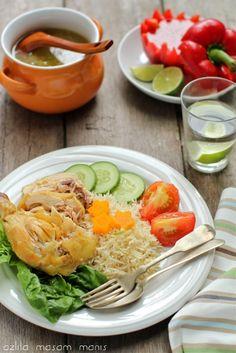 masam manis: NASI AYAM HAINAN Rice Cereal, Malaysian Food, Chicken Rice, Paella, Cobb Salad, Risotto, Foodies, Menu, Cooking Recipes