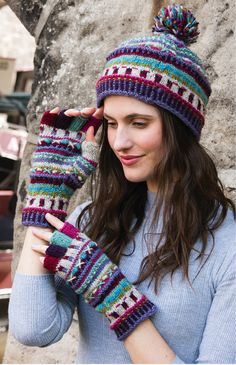 Pokhara Hand Knit, Traditional Fair Isle design accessories in fine wool embellished with embroidery. Hand made in Nepal, fairly traded by Namaste.