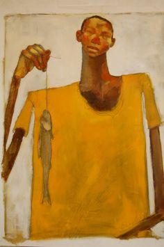 Olivia Pendergast Malawi Figuratives; Boy with fish (Juma)