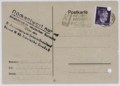 """Postcard sent by a new arrival to Auschwitz to a relative in Theresienstadt reassuring him that everything was fine.    Some inmates were forced to write these cards to maintain the deception that deportations to Auschwitz signified nothing dangerous."""