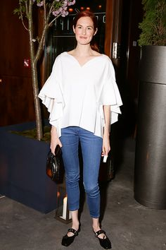 16 Fashion Risks That Seriously Paid Off #refinery29  http://www.refinery29.com/fashion-risks#slide14  Taylor Tomasi Hill, queen of all tricky trends, ably pulls off the only puffy shirt that doesn't give us Seinfeld flashbacks, and the only square-toed shoes that don't make us think of Pilgrims. Props.