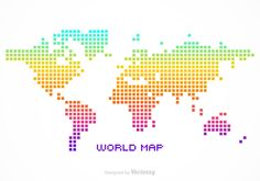 Freebie vector dotted world map d free vector colorful silhouette of a world map created in pixel design gumiabroncs Image collections