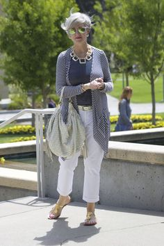 Style Inspiration: Style At A Certain Age Like tee top and necklace; already have white jeans.