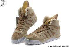 2013 New Adidas Original X Jeremy Scott Big Tongue Velvet Shoes Khaki For Sale