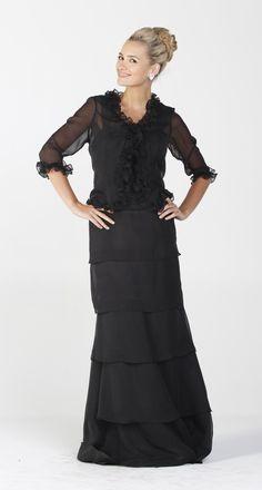 Long Modest Formal Dress Black Ruffles Bolero Jacket Layered Skirt