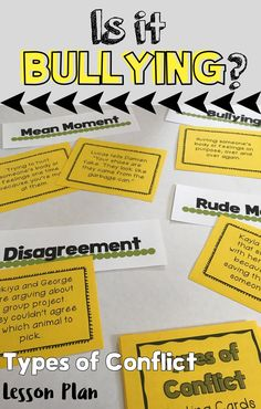 """""""SHE BULLIED ME!"""" This lesson helps students to better understand four types of conflict they will likely experience in school and life: Disagreements, Rude, Moments, Mean Moments, Bullying. Included in this lesson is: A quick pre/post assessment to use Anti Bullying Lessons, Anti Bullying Activities, Counseling Activities, Therapy Activities, Group Counseling, Examples Of Bullying, Bible Activities, Group Activities, Elementary Counseling"""