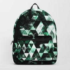 Triangle Geometric Green Smoky Galaxy Backpack by #PLdesign #geometric #modern #abstract #Society6