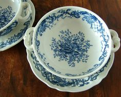 Vintage Villeroy & Boch Transferware  This listing is for a set of 2 ceramic soup cups with fitting saucers manufactured by the famous German