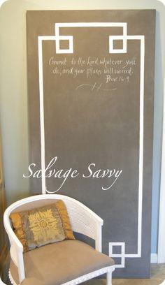 How to Make a Giant Chalkboard via @salvagesavvygal #chalkboard