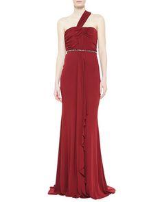 One-Shoulder Draped  Gown, Garnet  by Badgley Mischka at Neiman Marcus.