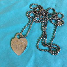 FLASH SALE  Return to Tiffany Heart Necklace Authentic Return to Tiffany Sterling Silver Heart Necklace on long bead chain. In good condition. Comes without pouch or box. Tiffany & Co. Jewelry Necklaces